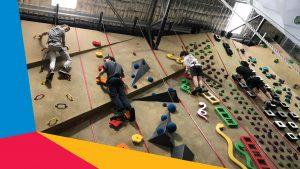 Youth rock climbing